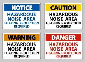 gevaarlijke lawaai gebied gehoorbescherming vereist sign set vector