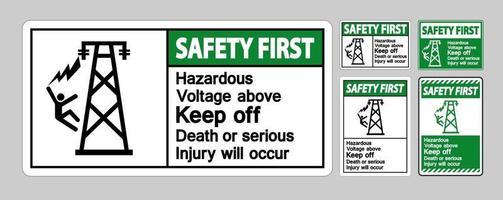 Safety first gevaarlijke spanningstekenset vector