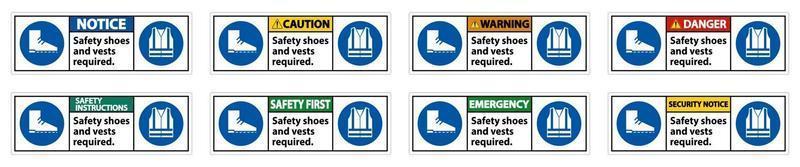 veiligheidsschoenen en vest vereist met pbm-symbolen tekenset vector