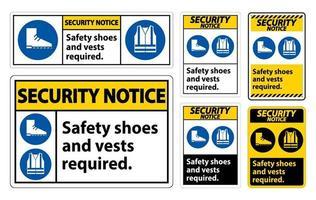 veiligheidsmededeling teken veiligheidsschoenen en vest vereist met pbm symbolen teken set vector