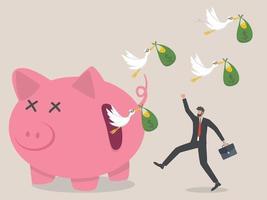 verborgen kosten van investeringsconcept, zwerm vogels met vliegende geld.