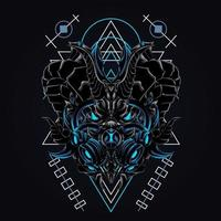 draak masker kunstwerk illustratie