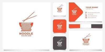 noedels komen uit de kom en eetstokjes logo met sjabloon voor visitekaartjes vector