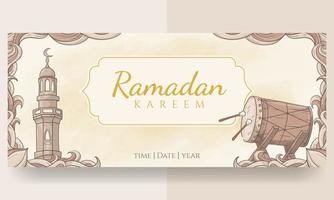 hand getrokken ramadan kareem banner vector