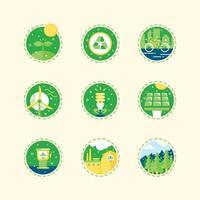 aarde dag groene pictogrammen concept set