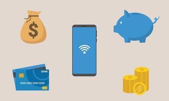 financiële cartoon icoon, spaarpot, pinautomaat, geld, smartphone. vector