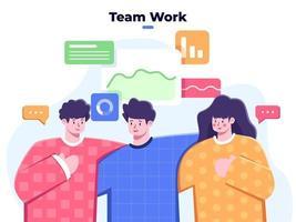 zakelijk team werkt samen, succes zakelijke team groepsmensen, partnerschap teamsamenwerking in het bedrijfsleven, vriendelijk zakelijk groepsteam, solidariteit van teamwerk, divers persoon, succesvol teamwerk. vector