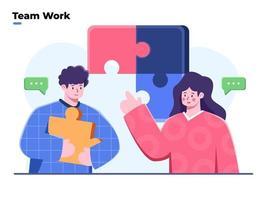 business team dat werkt aan het oplossen van probleem vlakke afbeelding. mensen die grote puzzelstukjes met elkaar verbinden. teamwerk bespreken oplossingsidee. teambuilding en zakelijke partnerschapsconcepten. vector