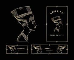 nefertiti koningin van Egypte lijntekeningen gouden kleur met gouden kaderset vector