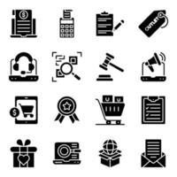 pak winkelen en solide pictogrammen kopen vector