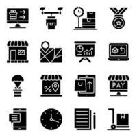 pak winkelen en uitgeven van solide pictogrammen vector