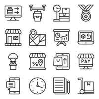 pakket winkelen en uitgeven lineaire pictogrammen vector