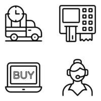 pakket met het kopen en kopen van lineaire pictogrammen vector