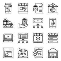 pakket winkelen en kopen lineaire pictogrammen vector