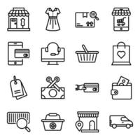 pakket winkelen lineaire pictogrammen vector