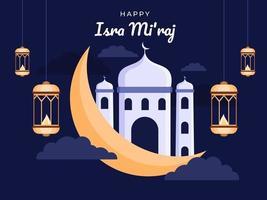 gelukkige isra mi'raj-dagillustratie met maan, moskee en hangende lantaarns. isra mi'raj is twee delen van een nachtelijke reis in de islamgodsdienst. groet isra miraj dag, kan gebruiken voor spandoek, poster, briefkaart, website.