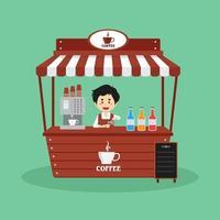 verkoper verkoopt koffiecabine straat vector