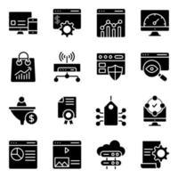 pack van seo en web solide pictogrammen vector