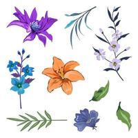 verzameling van prachtige kruiden en wilde bloemen en bladeren geïsoleerd op een witte achtergrond. vector