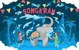 plat schattig gelukkig songkran-festival vector