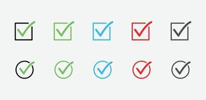 vinkje pictogrammen. set vinkjes. groen vinkje, ja of nee, accepteer en weiger symbool. vinkje ok pictogram voor website en mobiele app