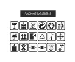 vectorillustratie van verpakking pictogrammen instellen voor website en mobiele app vector