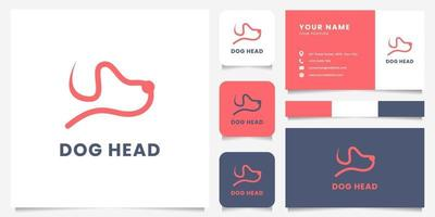 eenvoudig en minimalistisch lijn hondenhoofd logo met sjabloon voor visitekaartjes vector