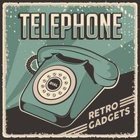 retro klassieke vintage gadgets telefoon bewegwijzering poster vector