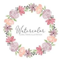 aquarel schattig roze bloem krans frame