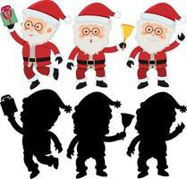 set van stripfiguur van de kerstman met silhouet vector
