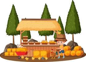 een boerenjongen met eierwinkel geïsoleerd op een witte achtergrond