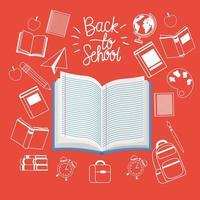 tekstboeken en benodigdheden terug naar school vector
