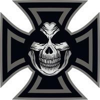 gotisch bord met schedel en kruis, grunge vintage ontwerpt-shirts vector
