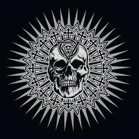 gotisch bord met schedel en oog van de voorzienigheid in driehoek, grunge vintage design t-shirts vector