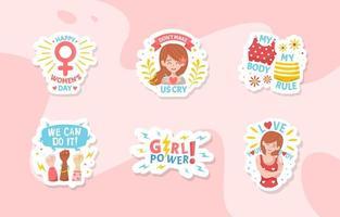 vrouwendag bewustzijn platte schattige stickers vector