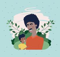 gelukkige vadersdagkaart met zwarte papa en zoonkarakters vector