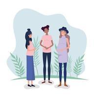 schattige interraciale zwangere vrouwen