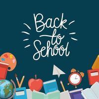 schoolbenodigdheden terug naar schoolframe vector
