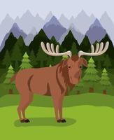 ontwerp met elanddier en pijnbomen vector
