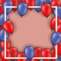 vierkant frame met rode en blauwe ballonnen
