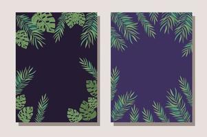 tropische bladeren frame ontwerp vectorillustratie