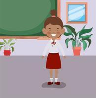 afro klein schoolmeisje in de klas vector