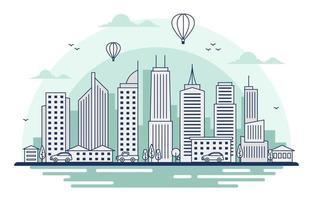 skyline van de stad bij zonsondergang illustratie vector