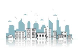 skyline van de stad met reflectie illustratie vector
