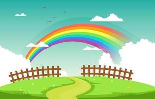 kronkelende weg regenboog natuur landschap landschap illustratie vector