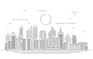 dag stedelijke stad gebouw stadsgezicht landschap lijn illustratie vector