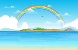regenboog boven meer zee natuur landschap landschap illustratie vector