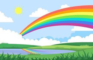 regenboog boven vijver meer natuur landschap landschap illustratie vector