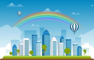 mooie regenboog stad zomer stadsgezicht landschap illustratie vector