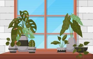 tropische kamerplant groene decoratieve plant venster huis illustratie vector